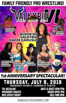 Valkyrie Vi - 1st Anniversary Spectacular - Family Friendly - Presented by Valkyrie Womens Professional Wrestling - Thursday Woodbury Heights, NJ - Thursday, July 9th 2015 at 8:00 PM 20 tickets donated